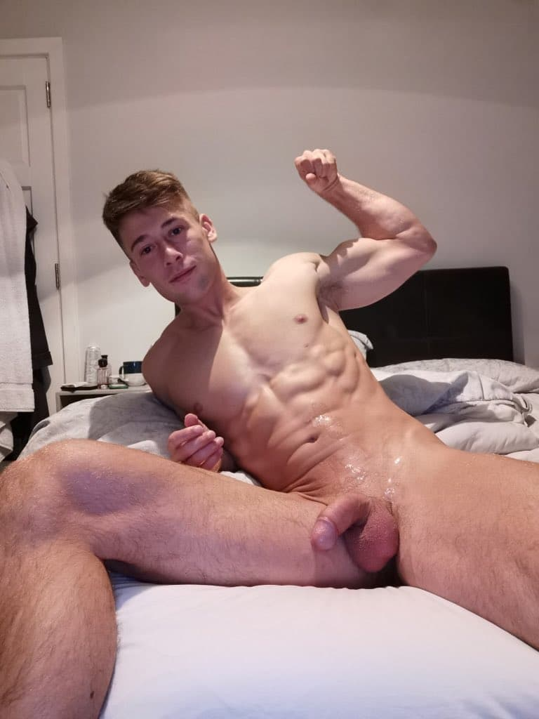 Muscle boy with shaved cock
